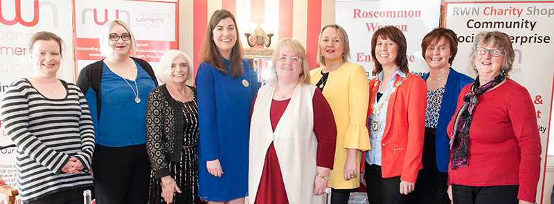 Pictured at RWN Chat Show in Gleeson's to mark International Women's Day were Sharon Mannion, Tanya Wrightson, Senator Maura Hopkins, Philomena Hourigan, Christina McHugh, Editor of the Roscommon Herald, Tara Farrell, Cllr Orla Leyden, Chairperson of Roscommon County Council, Cllr Kathleen Shanagher and Liz Billings . Picture: Andrew Fox